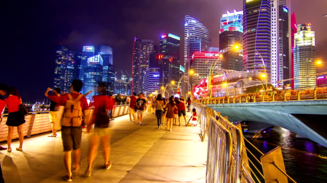 HD Time-lapse : Pedestrians at Marina Bay Singapore.