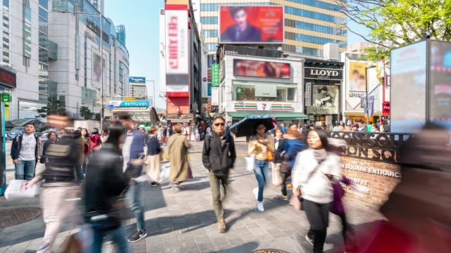 Time-lapse: Pedestrians at Myeongdong Downtown Shopping Street in Seoul South Korea