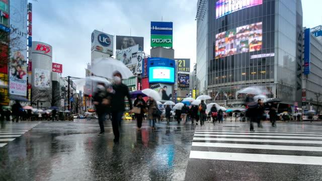 """vídeos de stock e filmes b-roll de hd """"time-lapse"""": peões de cruzamento de shibuya com a chover - chapéu"""