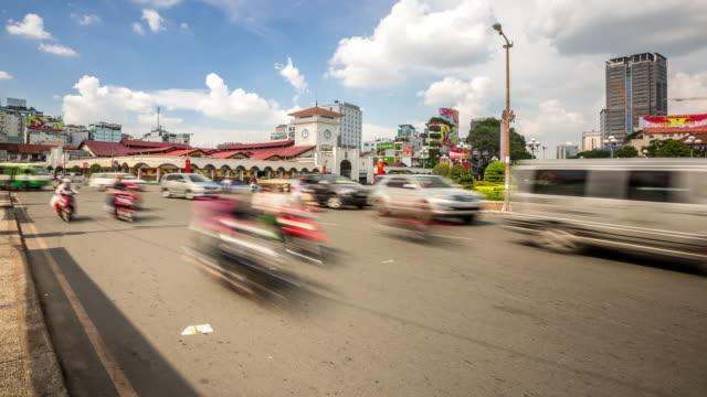 4k time-lapse: pedestrians ben thanh market ho chi minh viatnam - vietnam stock videos & royalty-free footage