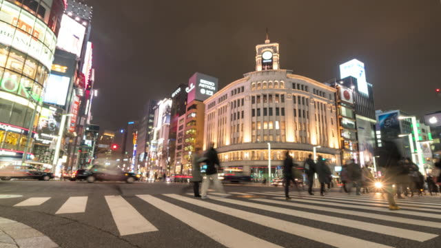time-lapse: pedestrians cross at ginza crossing - ginza stock videos & royalty-free footage