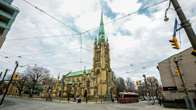 hd time-lapse: pedestrians crowd at st james church toronto canada - district stock videos & royalty-free footage