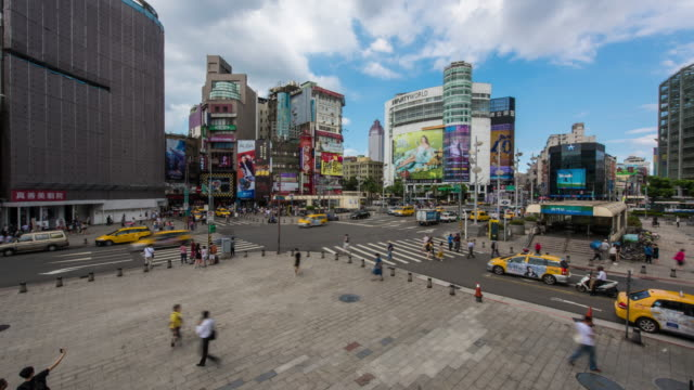 time-lapse: pedestrians crowd ximending shopping street ximen, taipei taiwan - taipei stock videos & royalty-free footage