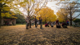 Time-lapse: Pedestrians crowded at Tachikawa Garden Tokyo Japan