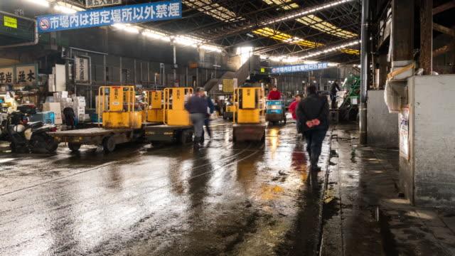 Time-lapse: Voetgangers druk bij Tsukiji Fish markt Tokyo Japan
