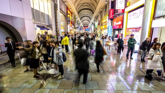 time-lapse: pedestrians crowded shopping at hondori arcade hiroshima downtown - hiroshima prefecture stock videos and b-roll footage