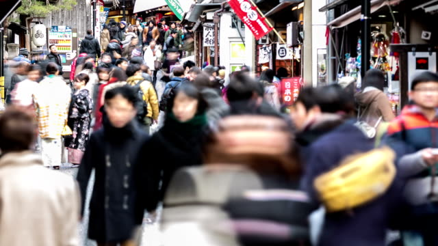 hd time-lapse: pedestrians shopping at kiyomizu temple street market kyoto - shinto stock videos and b-roll footage