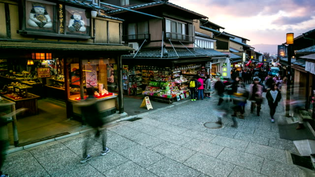 hd time-lapse: pedestrians shopping at kiyomizu temple street market kyoto - temple street market stock videos and b-roll footage