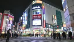 Time-lapse: Pedestrians shopping at Shimbashi district at night , Tokyo, Japan