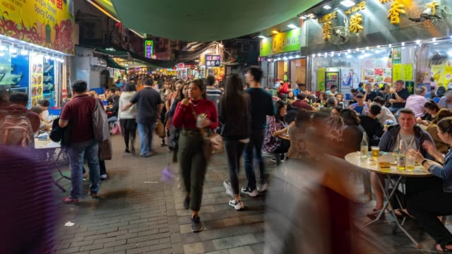 Time-lapse: Pedestrians Tourist crowded shopping at Temple street, Jordan, Nathan Road in Kowloon Hong Kong