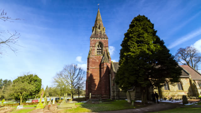 Timelapse people arrive at church for Easter service, UK