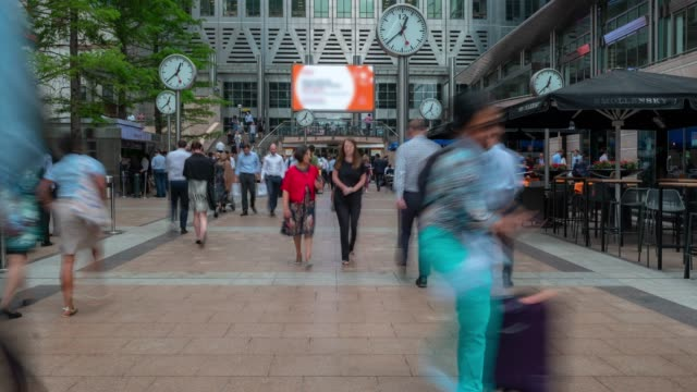 time-lapse people businessman crowd at canary wharf downtown in london england uk - canary wharf stock videos & royalty-free footage
