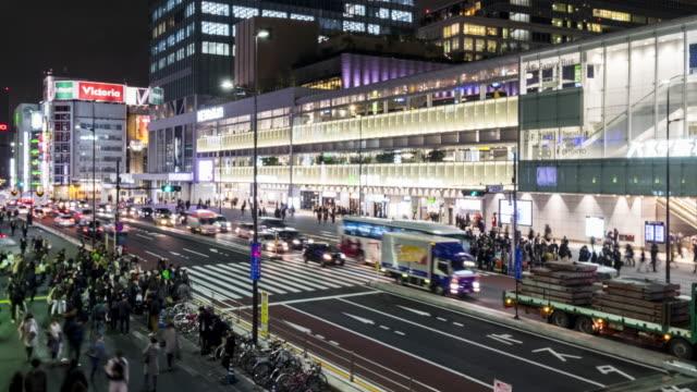 4K Time-Lapse: mensen kruising bij nacht, Shinjuku, Tokyo, Japan