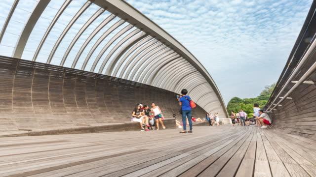 Time-lapse: People Crowd at Pedestrian bridge in Singapore