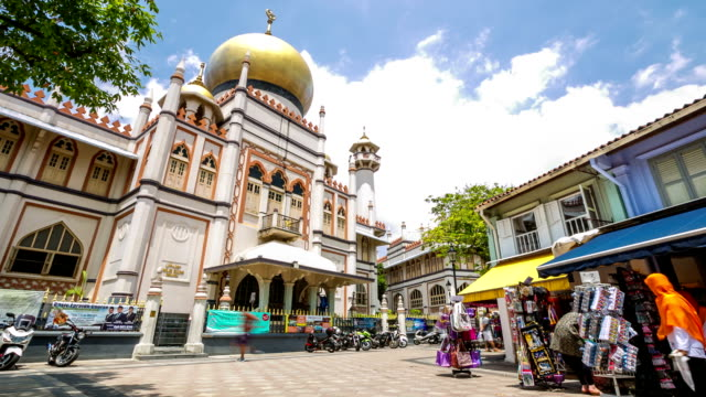 hd time-lapse: people crowd pedestrian at musjid sultan arab street - sultan stock videos and b-roll footage