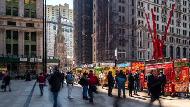 time-lapse: people crowded with food truck at zuccotti park at lower manhattan downtown ny usa. - hot dog stock videos & royalty-free footage