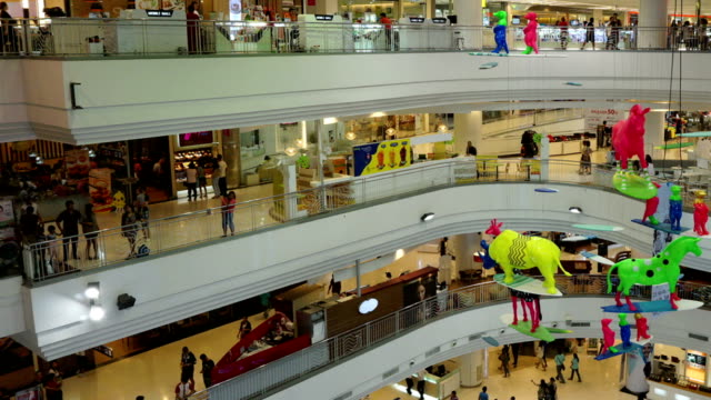 vídeos de stock, filmes e b-roll de time-lapse pessoas em shopping mall. - ramo parte de uma planta