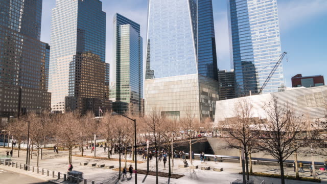 time-lapse: people tourist crowded at lower manhattan around 9/11 memorial ground zero  downtown ny usa. - memorial event stock videos & royalty-free footage