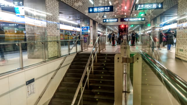 Time-Lapse People walking in beijing subway