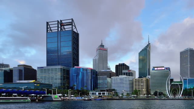 time-lapse (panning) : perth skyline, australia - downtown stock videos & royalty-free footage