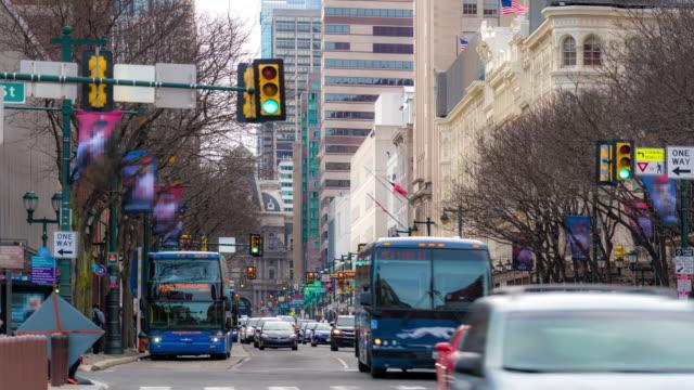 time-lapse: philadelphia center city downtown, pa, usa - traffic light stock videos & royalty-free footage