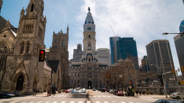time-lapse: philadelphia city hall along benjamin franklin pkwy with city center skylines skyscraper building in downtown pa usa - avenue stock videos & royalty-free footage