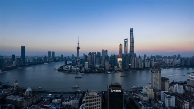 time-lapse photography of shanghai sunset skyline - oriental pearl tower shanghai stock videos & royalty-free footage