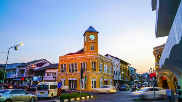 timelapse Phuket old town with Sino Portuguese style ,Thailand