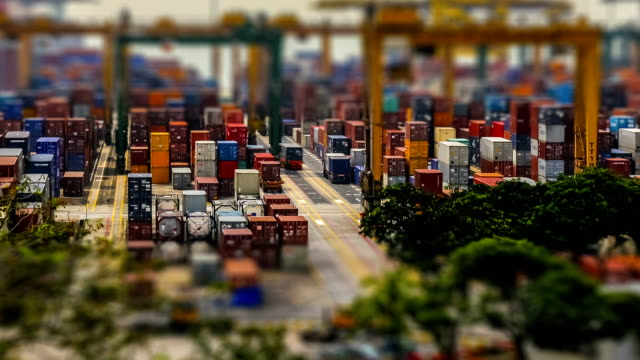 time-lapse port terminal day - cargo container stock videos & royalty-free footage