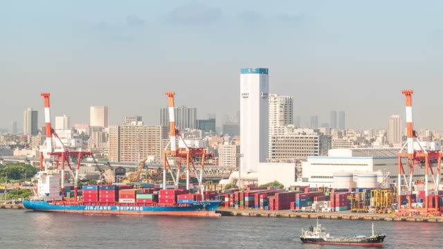 time-lapse: port working aerial view with cargo ship and container in tokyo bay japan - tokyo bay stock videos & royalty-free footage