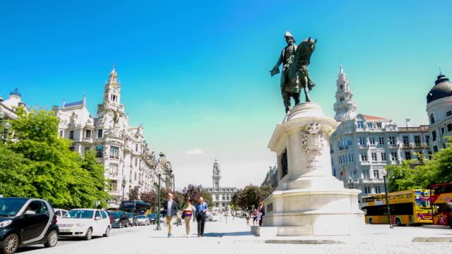 HD time-lapse: Porto downtown in liberty square Portugal