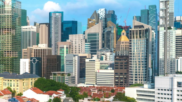 timelapse pull back from 'the city' to the buddha tooth relic temple in daytime, singapore - temple building video stock e b–roll
