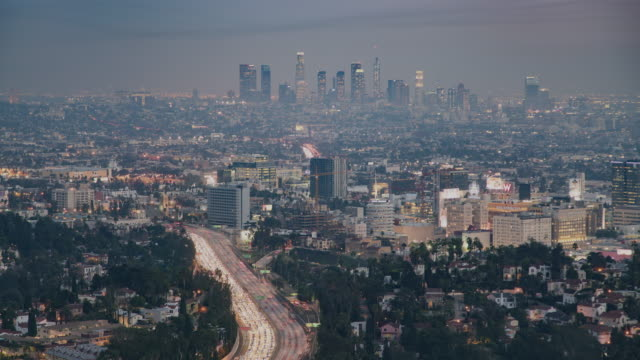 time-lapse push in overlooking hollywood, california - push in stock videos & royalty-free footage