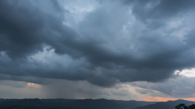 4k timelapse : rain clouds, rain starts. - gray color stock videos and b-roll footage