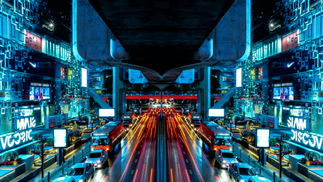 4k timelapse : reflection on transport traffic of car on the road in city that look like modern city. concept of lighting in the night of city. - reflector stock videos & royalty-free footage