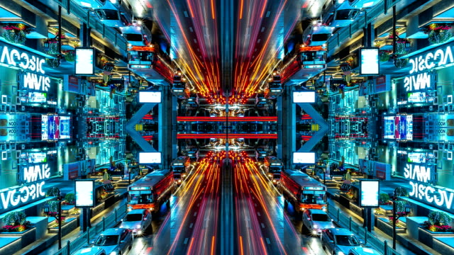 vídeos de stock e filmes b-roll de 4k timelapse : reflection on transport traffic of car on the road in city that look like modern city. concept of lighting in the night of city. - competência