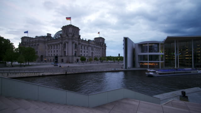 Time-lapse. Reichstag building, River Spree and Paul-Löbe-Haus buildings at dusk, Platz der Republik. Berlin, Germany, Europe.