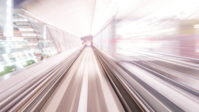 time-lapse: riding monorail in tokyo japan at night - monorail stock videos and b-roll footage