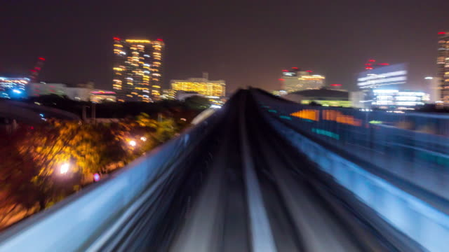 time-lapse: riding monorail in tokyo japan at night - monorail stock videos & royalty-free footage