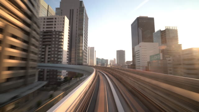 4k time-lapse: riding monorail in tokyo japan - monorail stock videos & royalty-free footage
