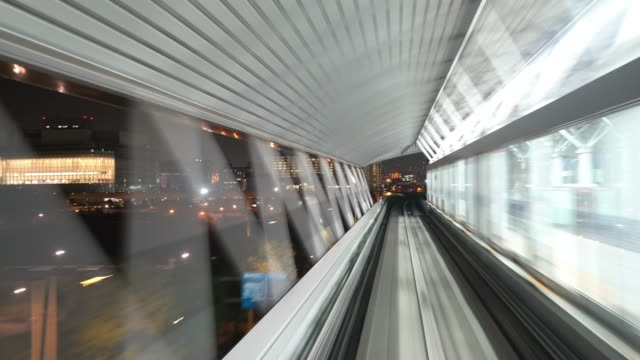 time-lapse: riding monorail in tokyo japan - monorail stock videos & royalty-free footage