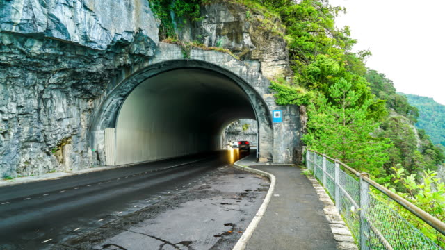 timelapse road with tunnel