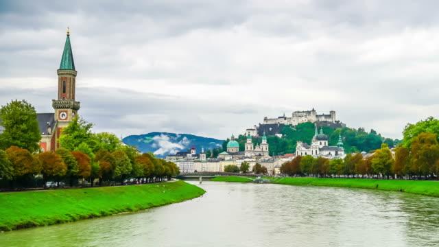 timelapse Salzburg City in Austria