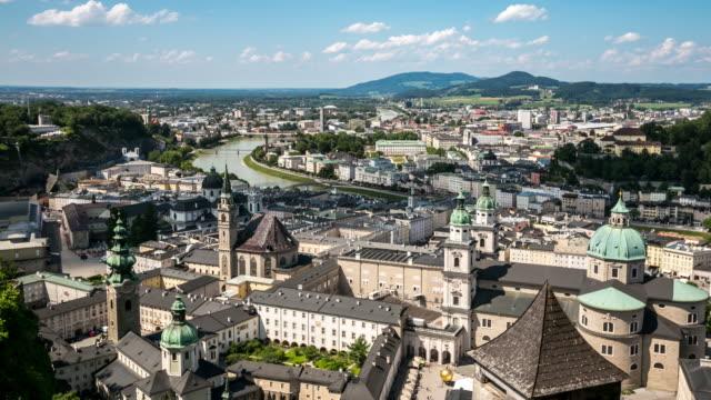 4k time-lapse: salzburg cityscape along the river salzach austria - austria stock videos & royalty-free footage