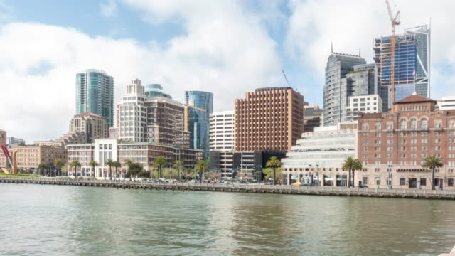 time-lapse san francisco downtown from pier 14 rincon park, california, usa - oakland california stock videos & royalty-free footage