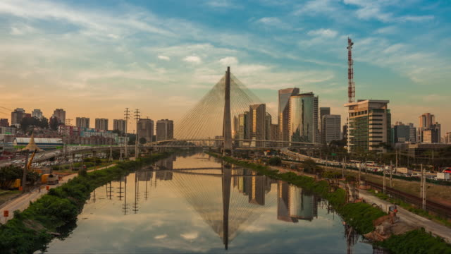 timelapse sao paulo - estaiada bridge - brazil stock videos & royalty-free footage