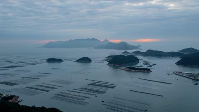 time-lapse :seaweed farming at xiapu fujian china. - mud flat stock videos & royalty-free footage