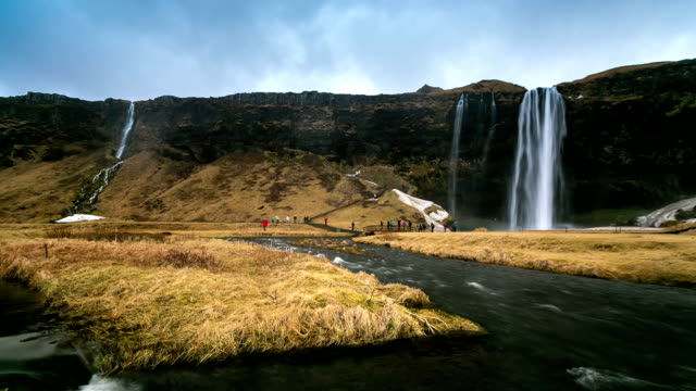 hd time-lapse: seljalandsfoss waterfall, iceland - seljalandsfoss waterfall stock videos and b-roll footage