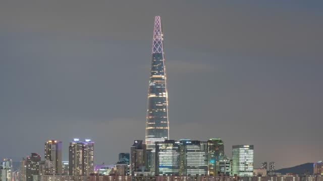 timelapse : seoul city skyline, lotte tower - seoul stock videos & royalty-free footage