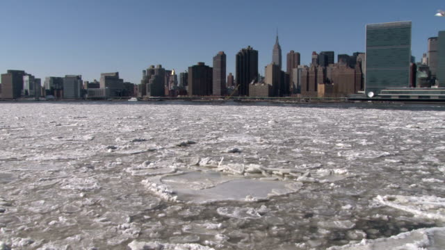 Timelapse sequence of an ice floe/ice jam on the East River with the Manhattan skyline in the background during a record outbreak of arctic cold...